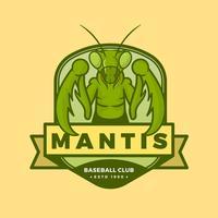 Flaches Insekten-Mantis-Maskottchen-Logo mit moderner Ausweis-Schablonen-Vektor-Illustration