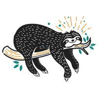 Ilustração de preguiça dormir fofo