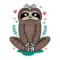 Gullig Yoga Sloth Illustration
