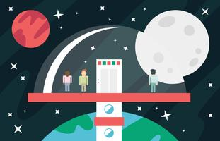 Space Elevator Flat Illustration Vector