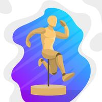 Detail Posed Mannequin Figure Jumping With Gradient Background Vector Illustration