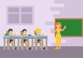 Sala de aula com ilustração vetorial de crianças