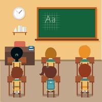 Vetor de crianças de sala de aula