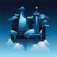 Floating Future City vector