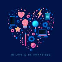 En amour avec la technologie Vector Illustration
