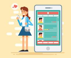 Online Dating Vector Illustratie