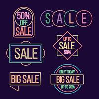 Neon Lamp Sale Collection Vector