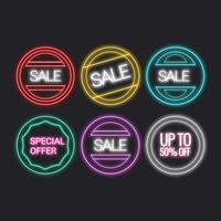Vector Neon Sale Signs