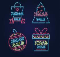 Xmas Neon Sale Vector Pack