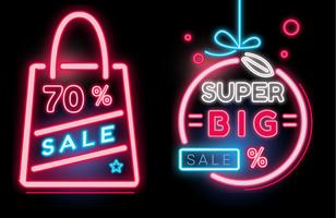 Shopping Sale Banner Neon Vector