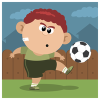 A boy playing soccer