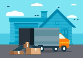 Moving Truck Background Illustration