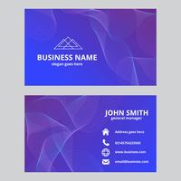 Abstract Waves Business Card. Purple And Blue Colors vector