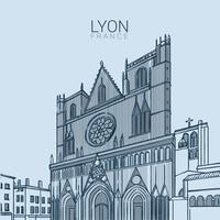 Lyon Medieval Landmark Vector Illustration