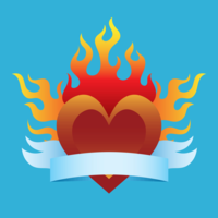 Flaming Heart with Ribbon Vector