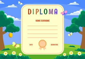 Kindergarten Diploma Certificate Vector