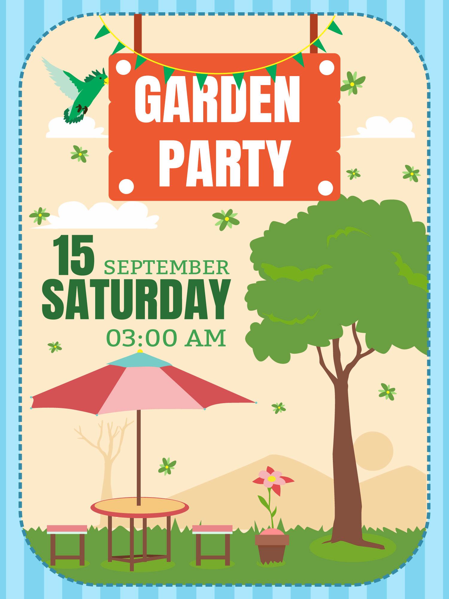 Striped Garden Party Invitation Vector - Download Free Vector Art ...