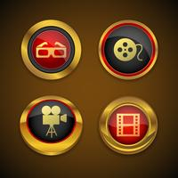 Cinema goud pictogram knop