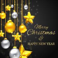 Tarjeta de felicitación de Navidad dorada