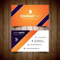 Oranje en donkerblauw bedrijfs visitekaartje