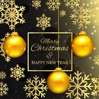 Christmas Background With Golden Balls vector