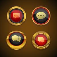 Botón de icono de oro de burbuja de discurso