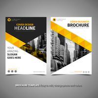 Brochure jaune élégante vecteur