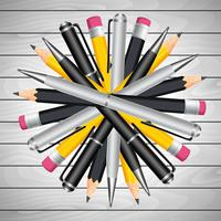 Circular Pencil And Pen vector