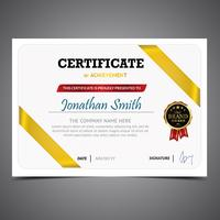 White And Gold Diploma Template
