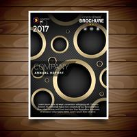 Dark And Gold Circular Hole Brochure Design Template