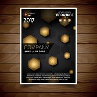Gold Hexagonal Abstract Brochure Design Template