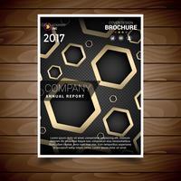 Dunkel und Gold Sechseckige Loch Broschüre Designvorlage