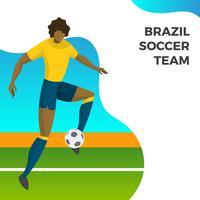 Joueur de football moderne minimaliste Brésil pour la balle de tir de la Coupe du monde 2018 avec le vecteur de fond dégradé Illustration