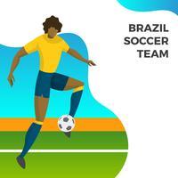 Jogador de futebol moderno minimalista do Brasil para a bola de tiro de Copa do mundo 2018 com ilustração em vetor gradiente fundo