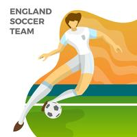 Moderner unbedeutender England-Fußball-Spieler für Weltmeisterschaft 2018 tröpfeln einen Ball mit Steigungshintergrund-Vektor Illustration