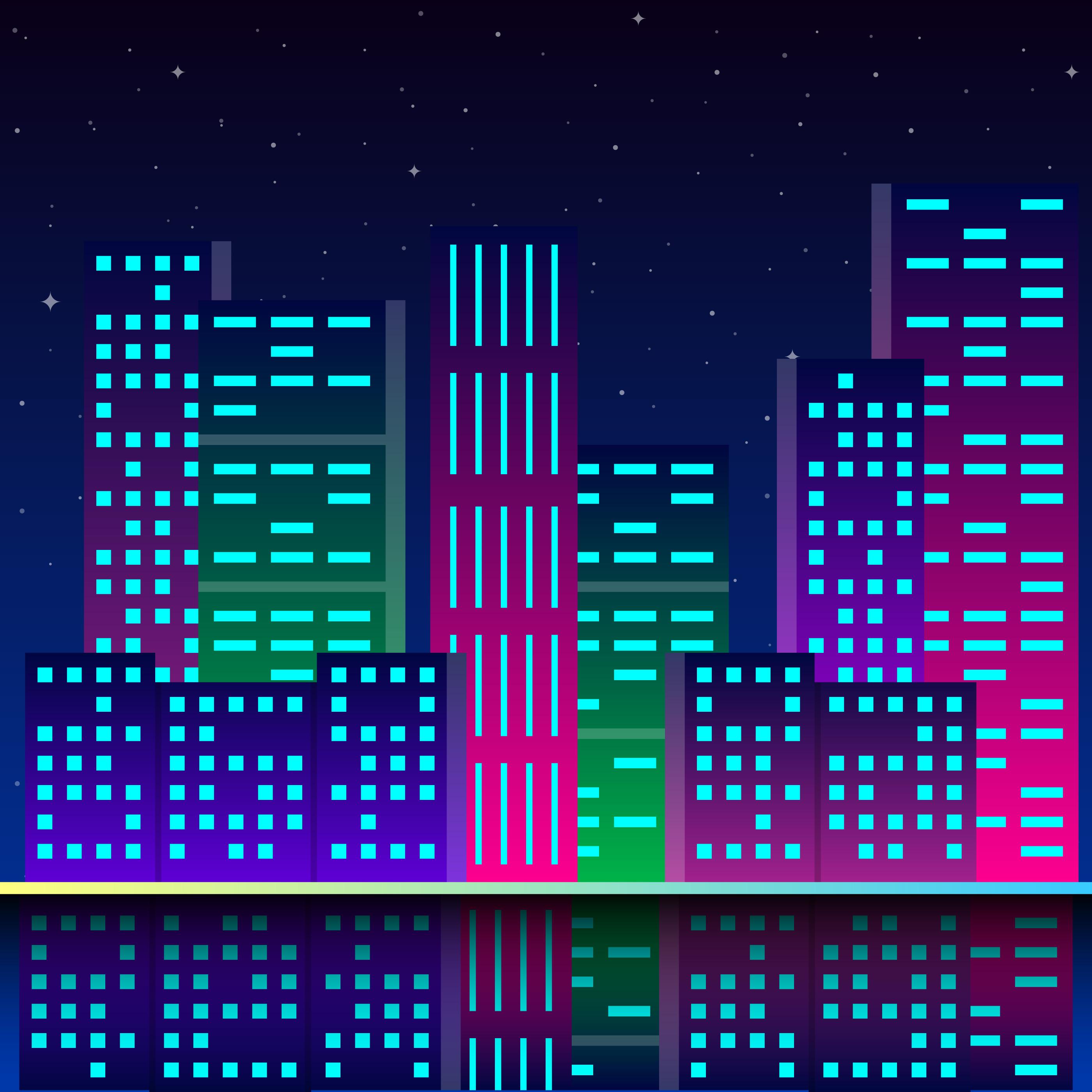 Futuristic City In Neon Lights Retro Style 80s Download Free
