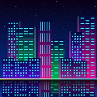 Futuristic City In Neon Lights Retro Style 80s