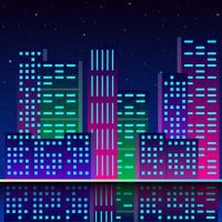 Ciudad futurista, en, luces de neón, estilo retro, 80s
