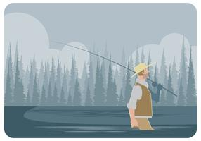 Fly Fisherman Walking Vector