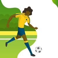 Jogador de futebol moderno minimalista do Brasil para a Copa do mundo 2018 drible uma bola com ilustração vetorial de gradiente