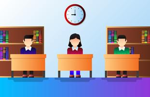 Crianças da escola estudando em ilustração vetorial de sala de aula