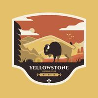 American Bison At National Park Yellowstone Badge Illustration.
