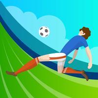Jugador de fútbol minimalista moderno de Francia listo para disparar la bola con el vector de fondo degradado