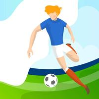 Moderner minimalistischer Frankreich-Fußball-Spieler bereit, Ball mit Steigungshintergrundvektor Illustration zu schießen