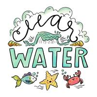 Playa Clearwater con letras y animales de mar