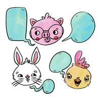 Conejito de los animales del bebé, guarro y polluelo con la burbuja del discurso