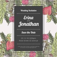 Cute Save The Date Invitation With Flowers And Leaves