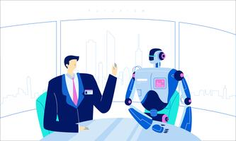 Futuristic Human Robot Technology Innovation Vector Flat Illustration