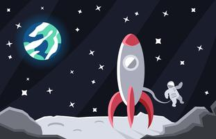 Moon Spacescape Flat Illustration Vector