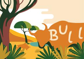 Bull on Savannah Vector Design